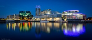 A beautiful reflection of the Lowry Theatre and the Digital World Centre by Phil Durkin www.phildurkin.co.uk