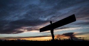 Angel of the North Spring Sunset by Phil Pounder