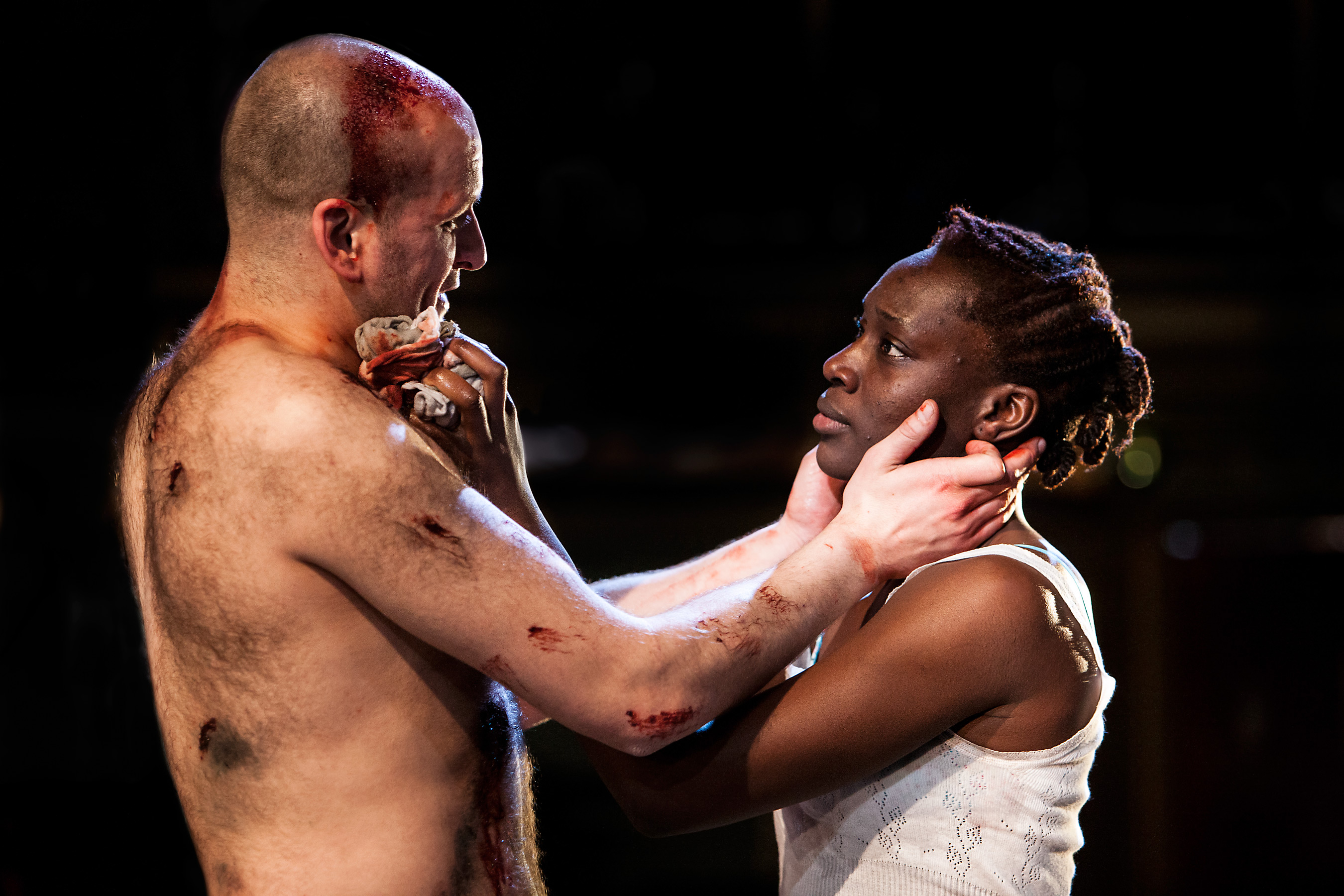 Ricky Champ as Josef The Fool (left) and Ony Uhiara as Lizaveta in CANNIBALS by Rory Mullarkey (Royal Exchange Theatre until 27 April). Photo - Jonathan Keenan