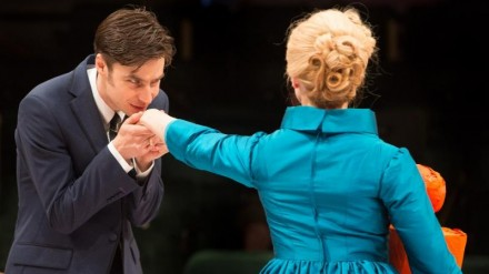 Dyfan Dwyfor as Yegor Dimitrich Gloumov and Hayley Carmichael as Kleopatra Ilvovna Mamaaev in TOO CLEVER BY HALF (Royal Exchange to 17 August). Photo - Jonathan Keenan and
