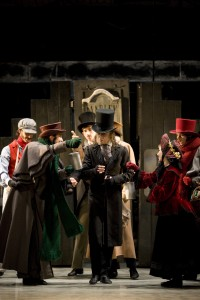 Darren Goldsmith as miserable Scrooge in A Christmas Carol. Photo by Bill Cooper