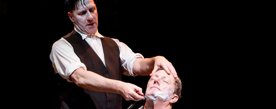 David Birrell as Sweeney Todd (left) and Don Gallagher as Judge Turpin in SWEENEY TODD (Royal Exchange Theatre until 30 Novmeber