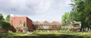 Whitworth Art Gallery. Artist's impression of exterior view from Whitworth Park, by Hayes Davidson. Courtesy Whitworth Art Gallery and McInnes Usher McKnight Architects.