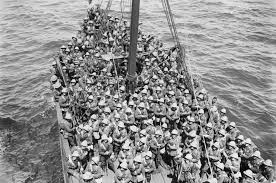 Soldiers of the Lancashire Fusiliers, 29th Division, are seen on board an old Royal Navy  battleship used in the third phase of operations in the Dardanelles Straits before they disembarked at 'W'  and 'V' beaches off Cape Helles on 5 May 1915.