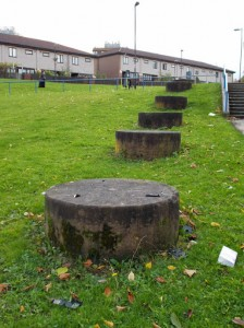 Monument column scattered in housing estate