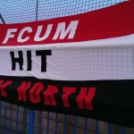 One of the many FCUM flags around the ground
