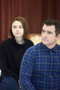 Actors Jessica Barden (Cate) and Martin Marquez (Ian) rehearse Blasted