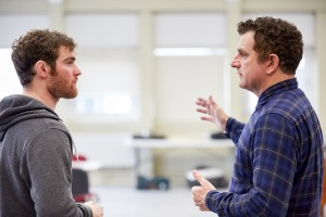 Actors Mark Stanley (Soldier) and Martin Marquez (Ian) rehearse Blasted.