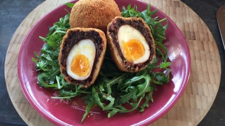 Vegetarian black pudding scotch eggs
