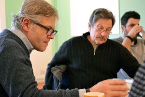 Michael Brandon and Jonathan Guy Lewis rehearsing A View from The Bridge