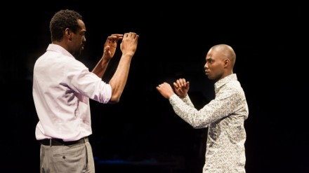 Sule Rimi as Joe and Fiston Barek as Dembe in The Rolling Stone by Chris Urch (Royal Exchange Theatre)