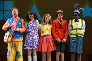 Justin Fletcher, Lizzie Franks, Samantha Dorrance, Tom Mackley & Nicholas McLean in The Tale of Mr Tumble, by Robert Day