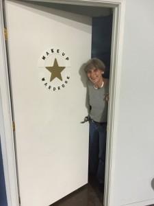 Lynne on set of Killing Joan.