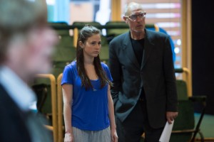 Rehearsal for Royal Exchange Theatre production of The Crucible by Arthur Miller, directed by Caroline Steinbeis - Rachel Redford (Abigail Williams) and Paul Brightwell (Thomas Putnam)