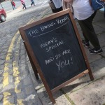 Pub Blackboard on the day of the Black Pudding Championships