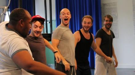 L-R – Dorian Jerome Simpson (Smudge), Daniel Kendrick (Frankie), Mark Weinman (Pugh), Sam Melvin (pidge), Ciarán Owens (Dan)