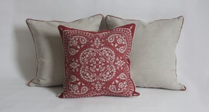 a 'Freyja' print cushion designed and made by talented duo Angharad and Lizzie of Pioden Prints