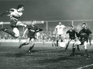An iconic image of Wayne Entwistle scoring Bury's second goal versus Tranmere Rovers in December 1984 (copyright Bolton Evening News)
