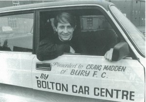Star striker Craig Madden in his sponsored Lada (copyright Bury FC)