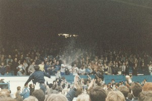 Promotion celebrations in front of the Main Stand, May 1985 (copyright Simon Egan)