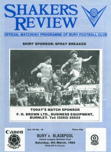Shakers Review, the matchday programme in 1984/85 (copyright Bury FC)