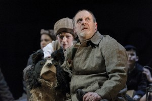 David Troughton (Tom Oakley) and Elisa de Grey (Puppeteer for Sammy the dog) in Goodnight Mister Tom 2015 Credit Dan Tsantilis