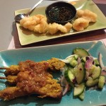 Tempura prawns and Malaysian chicken satay skewers