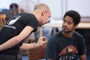 King Lear Rehearsals: Fraser Ayres (Edmund) & Alfred Enoch (Edgar)
