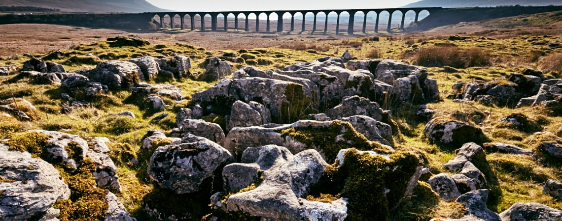 Limestone pavement and the viaduct.