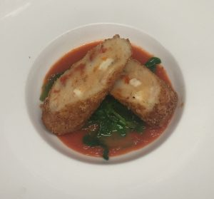 Sundried Tomato and Goat's Cheese Croquette with Wild Garlic and Tomato Sauce