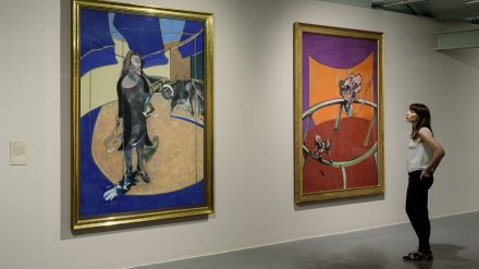 Portrait of Isabel Rawsthorne Standing in a Street in Soho 1967 (left) and After Muybridge - Woman Emptying a Bowl of Water and Paralytic Child on All Fours1965 (right) by Francis Bacon, on display in Francis Bacon: Invisible Rooms at Tate Liverpool until 18 September 2016