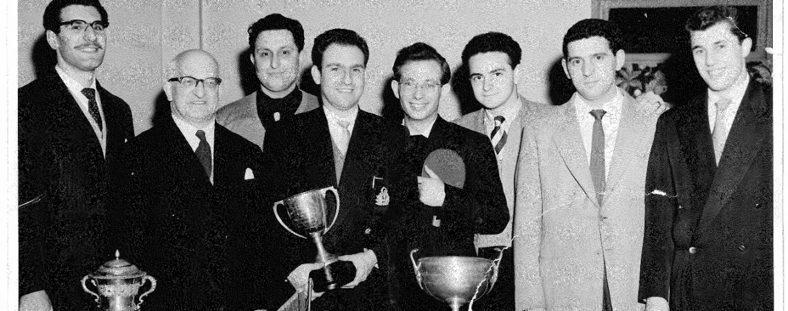 The winners of the Wilmot Cup in 1950, Benny Casofsky, Leslie Cohen and Hymie Lurie.