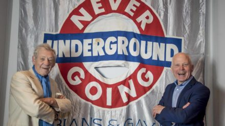 Ian McKellen and Michael Cashman - Never Going Underground Banner - People's History Museum 2