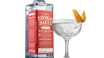 Thomas Dakin Gin Martini with bottle cut out
