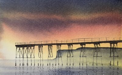 A Quiet Night, Saltburn Pier, watercolour