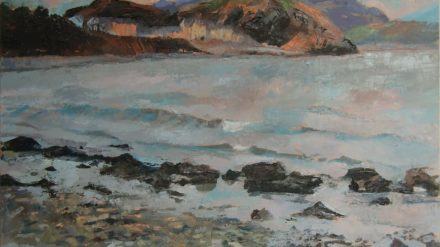 Criccieth from Ynysgain (oil on board)