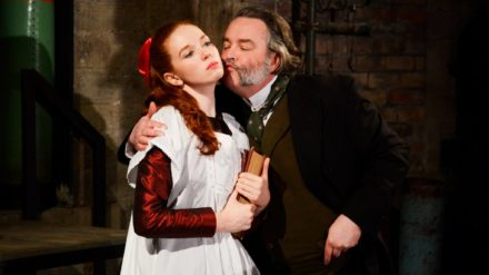 Vanessa Schofield as Louisa Gradgrind and Howard Chadwick as Josiah Bounderby- Hard Times - Photo by Nobby Clark