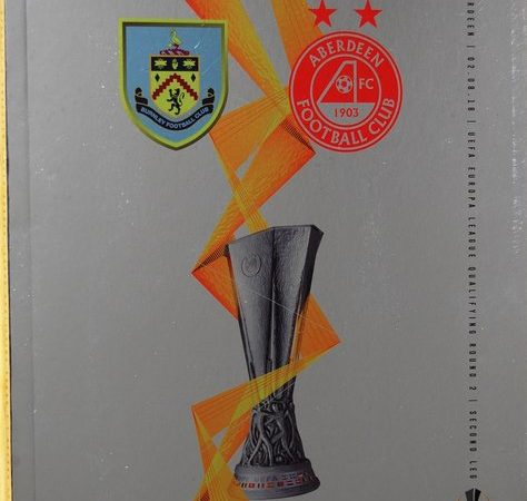 Burnley football programme from one of the club's recent European ties