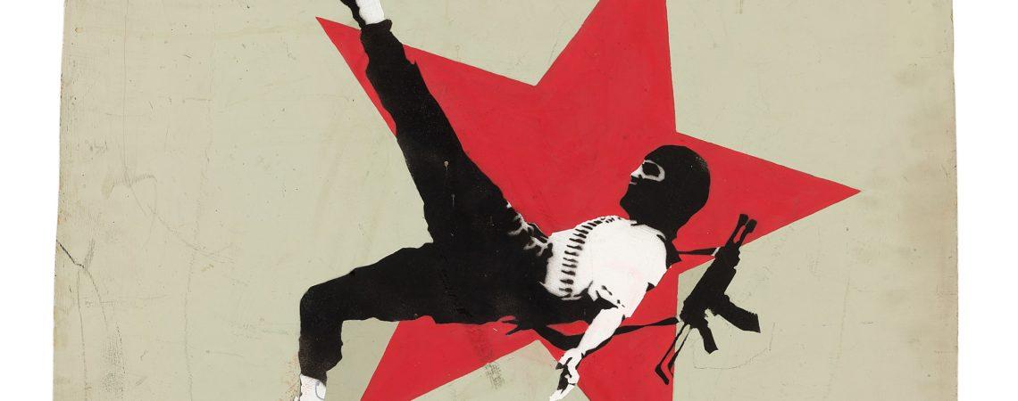 Banksy, Football Terrorist 2001 Spray enamel paint on wood Image courtesy Andipa London © The Artist
