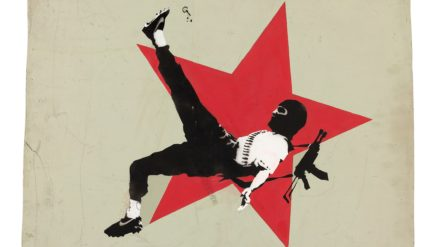 Banksy, Football Terrorist 2001 Spray enamel paint on wood Image courtesy Andipa London © The Artist