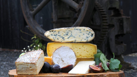 Cheshire cheeses, including Delamere Dairy's goat's cheese and two Burt's cheeses plus cheese from Bourne's, Appleby, Crabtree and Tiresford