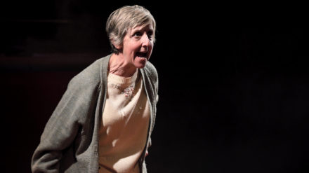 Julie Hesmondhalgh (June) in There Are No Beginnings at Leeds Playhouse. Photography by Zoe Martin