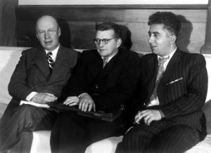 Prokofiev with composers Dmitri Shostakovich and Aram Khachaturian, 1940.
