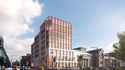 The new Arts and Humanities Building at Manchester Metropolitan University on Oxford Road—home of Manchester Poetry Library.