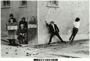 Don McCullin Catholic Youths Attacking British Soldiers in the Bogside of Derry~Londonderry 1971 © Don McCullin