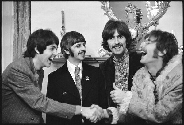 The Beatles at Brian Epstein's home in Belgravia at the launch of Sgt Pepper's Lonely Hearts Club Band London 1967
