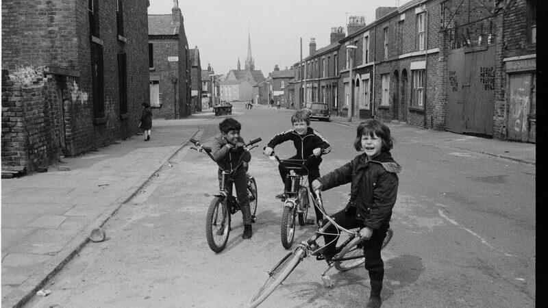 Three Lads on Bikes Maud & Elaine Street, L8, 1979