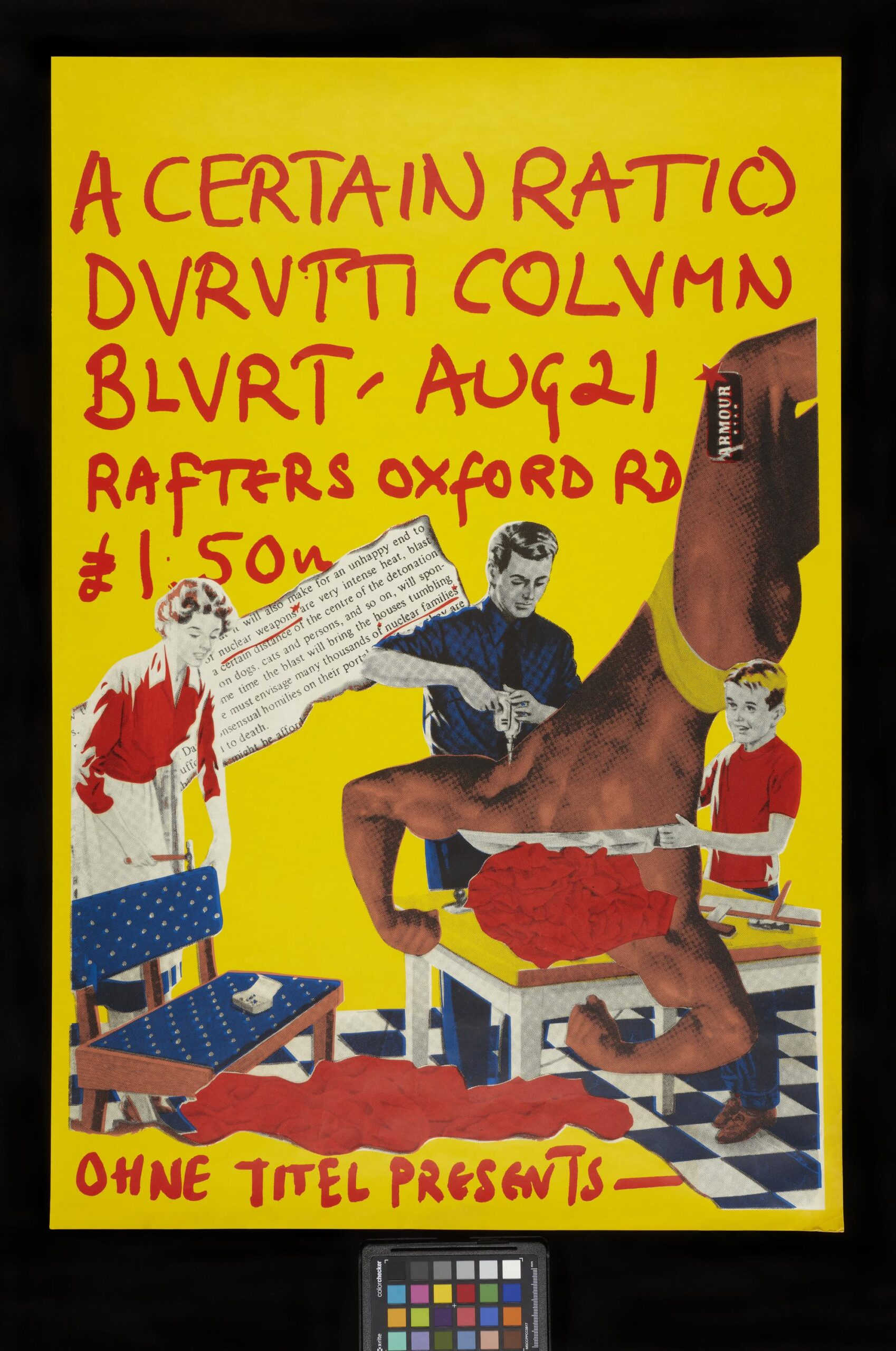 ACR - Durutti Column - Blurt - Rafters concert poster. Poster to promote A Certain Ratio and Durutti Column show at Rafters, Manchester, August 21st, supported by Blurt, 1980. Copyright Contact Details: © The Board of Trustees of the Science Museum Collection/Owner: Benedict and Laura Gretton Credit Line: Science Museum Group/ Lent by Benedict Gretton, Laura Gretton and Lesley Gilbert