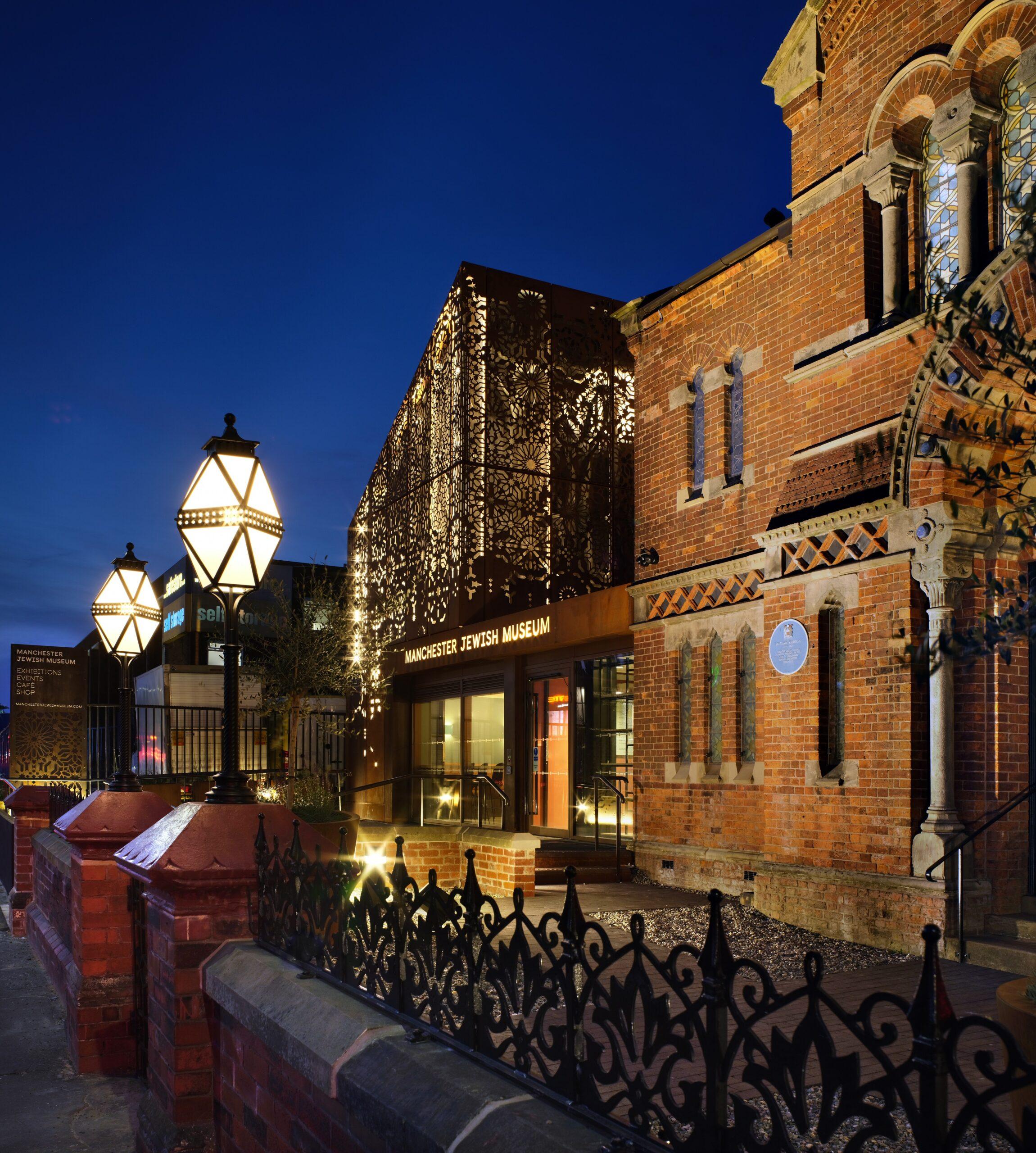 Philip Vile Manchester Jewish Museum exterior at night