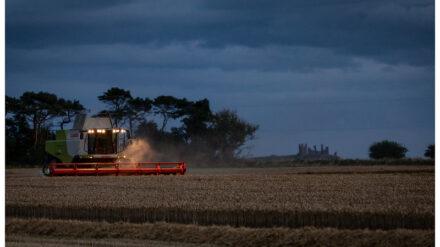 Combine harvester, High Newton, Cumbria